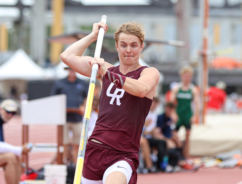 William Saxman of Cinco Ranch High School competes in the Class 6A boys pole vault event at the UIL State Track and Field Meet on May 7, 2021 at Mike A. Myers Stadium in Austin, Texas. Saxman finished fourth in the event with a vault of 15-6.00.