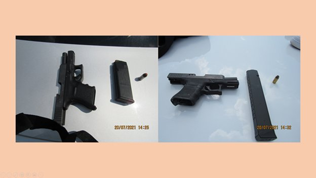 Katy Police Department investigators confiscated the two firearms pictured above when they arrested Ronald Pierre, Mister Mackey, Jr. and an unnamed minor in association with vehicle burglaries near Katy Mills on Wednesday. Drug paraphernalia was also seized during the arrest.
