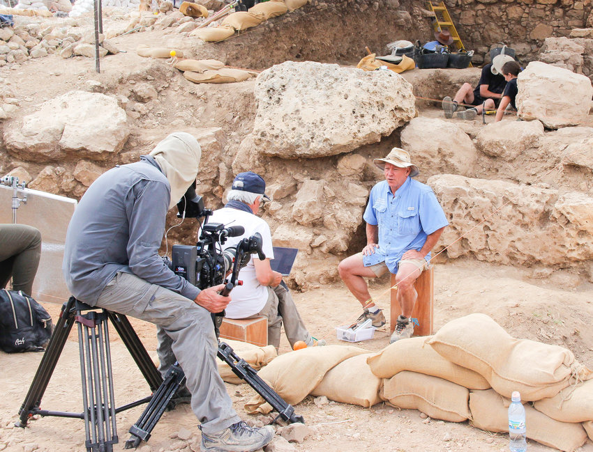 Scott Stripling being interviewed in Shiloh, Israel. He is the Director of Excavations for the Associates for Biblical Research at Khirbet el-Maqatir and Shiloh, Israel. During his current trip to Israel he will be filming with Trinity Broadcasting Network, discussing his work in Israel as well as consulting with colleagues in the region.