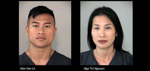 Alex Van Le, 32, and his mother Nga Thi Nguyen, 47, who both live in the Willowfork subdivision in the Katy area have been charged with second-degree felonies in association with their alleged involvement in a vehicle theft ring.