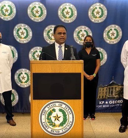 Fort Bend County Judge KP George speaks at a press conference shortly after noon on Friday, Aug. 20. George has ordered that masks be worn in Fort Bend County-run facilities and schools.