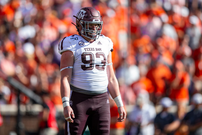 CLEMSON, SC - SEPTEMBER 07, 2019 - defensive lineman Max Wright #93 of the Texas A&M Aggies during the game between the Clemson Tigers and the Texas A&M Aggies at Clemson Memorial Stadium in Clemson, SC. Photo By Craig Bisacre/Texas A&M Athletics