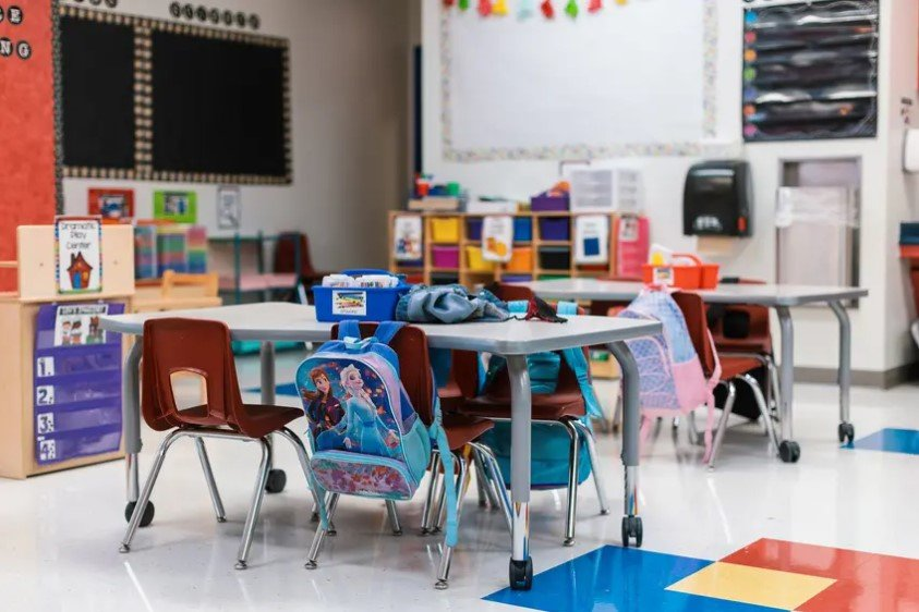 Students' backpacks hang on their chairs in an empty classroom at Blanco Vista Elementary School in San Marcos. The measure would allow for a one-time payment of up to $2,400 for retired teachers, counselors and other school staff.