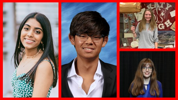 Seven Lakes High School's Asha Kalapatapu (left), Tompkins High School's Kevin Han (center), Katy High School's Chelsea Crow (top-right) and Taylor High School's Emma Hopkins (bottom-right) were among 91 Katy ISD students who earned the Advanced Placement Capstone Diploma for their academic achievements while attending the district.