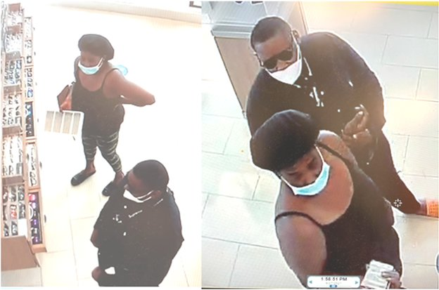 The Fort Bend County Sheriff's Office is seeking information on the two people pictured above in relation to thefts at a LaCenterra eyeglass shop.