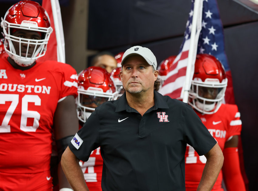 Houston Cougars head coach Dana Holgerson prepares to lead his field onto the team for an NCAA football game between Houston and Texas Tech on September 4, 2021 in Houston, Texas.