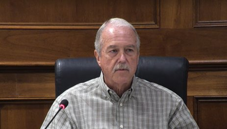 Katy Mayor Bill Hastings speaks during the councilmember forum at the end of Monday's Katy City Council meetings. Hastings and the rest of the council applauded efforts by city staff to prepare for rain and potential flooding from Hurricane Nicholas.
