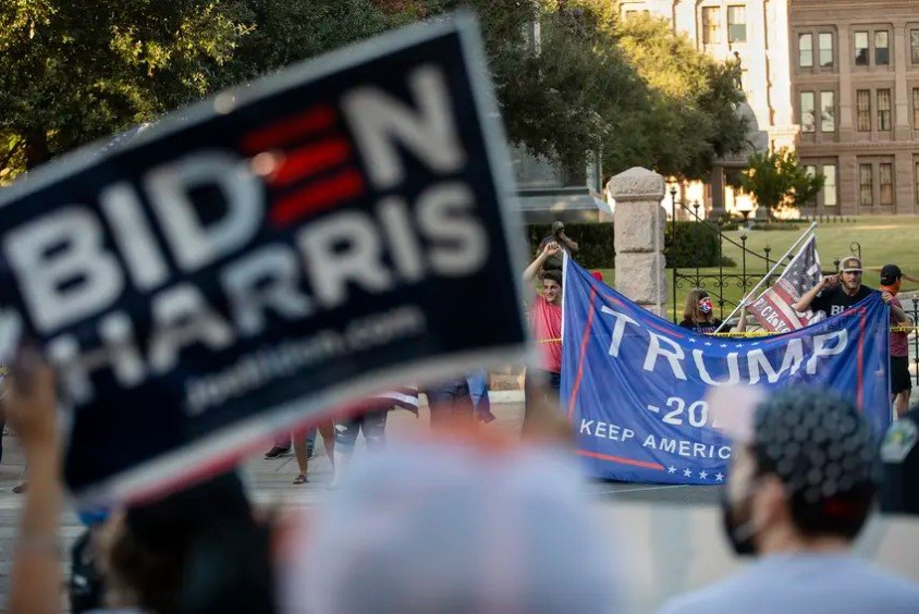 Supporters of Republican former President Trump gathered at the State Capitol in Austin on Nov. 7 to protest the electoral victory of Democrat Joe Biden. Officials in some counties targeted by audits accuse Republican Texas leaders of pandering to conspiracy theorists and undermining faith in elections. They also say the secretary of state's office hasn't provided details on what the audits entail.
