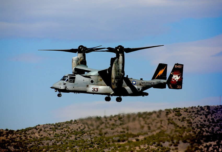 A U.S. Marine Corps chopper in action.
