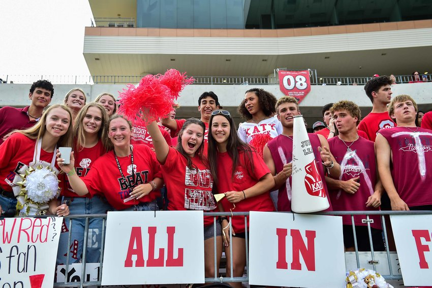 Katy fans celebrate during a game against Tompkins