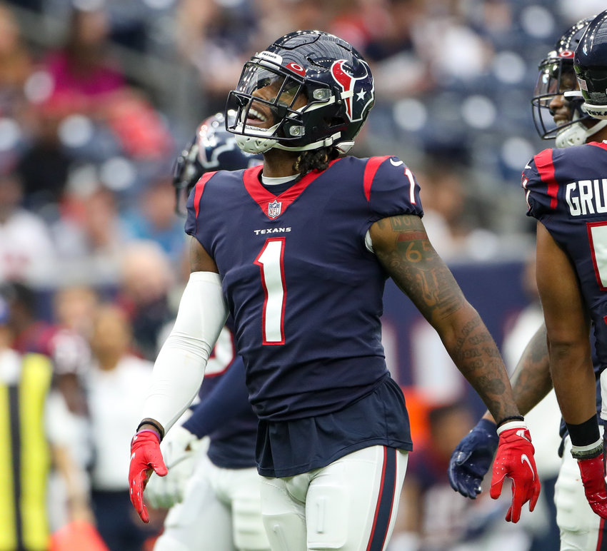 Houston Texans safety Lonnie Johnson (1) reacts after being flagged for unnecessary roughness on a tackle during an NFL game between Houston and New England on October 10, 2021 in Houston, Texas. The Patriots won 25-22.