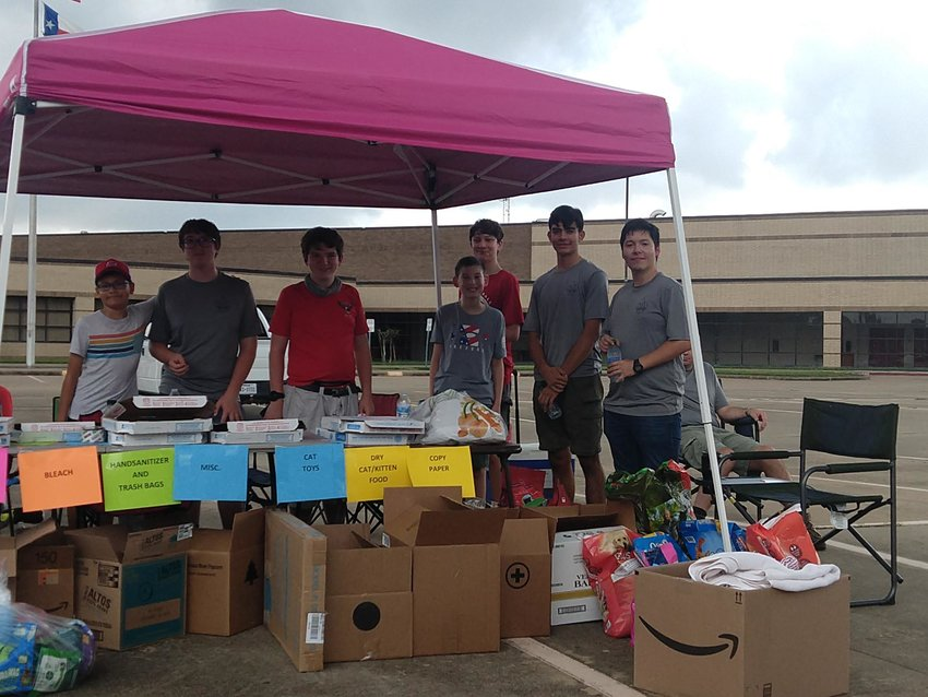 Scouts with Troop 1224 participated in a pet supply drive to help animals in need at Katy High School on Oct. 2.