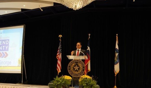 Fort Bend County Judge KP George delivers his State of the County address on Oct. 14 at Safari Texas Ranch. George said the county is working to help residents and businesses recover from the pandemic and is focused on drawing technology firms to bolster the economy for his constituents.