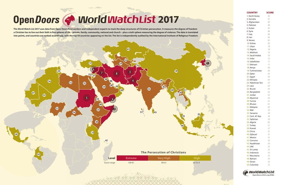 Open Doors USA  has been monitoring persecution of Christians worldwide since the 1970s. One of the organization's main tools is the World Watch List, which keeps track and measure the extent of persecution in the world. (Map provided by www.opendoorsusa.org)