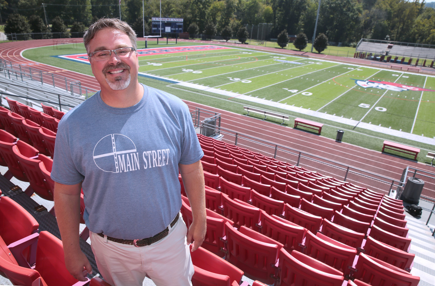 Pastor Donnie Patrick, of Main Street Baptist Church in Williamsburg, was instrumental in the professions of faith by more than 30 University of the Cumberlands athletes. As chaplain of the university football team, Patrick said he is able to share the gospel on the students' turf. (Kentucky Today/Robin Cornetet)