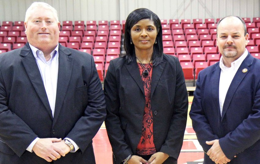 East Mississippi Community College employees, from left, Tony Montgomery, Sharon Thompson and Marcus Wood are assuming new administrative duties at the college.