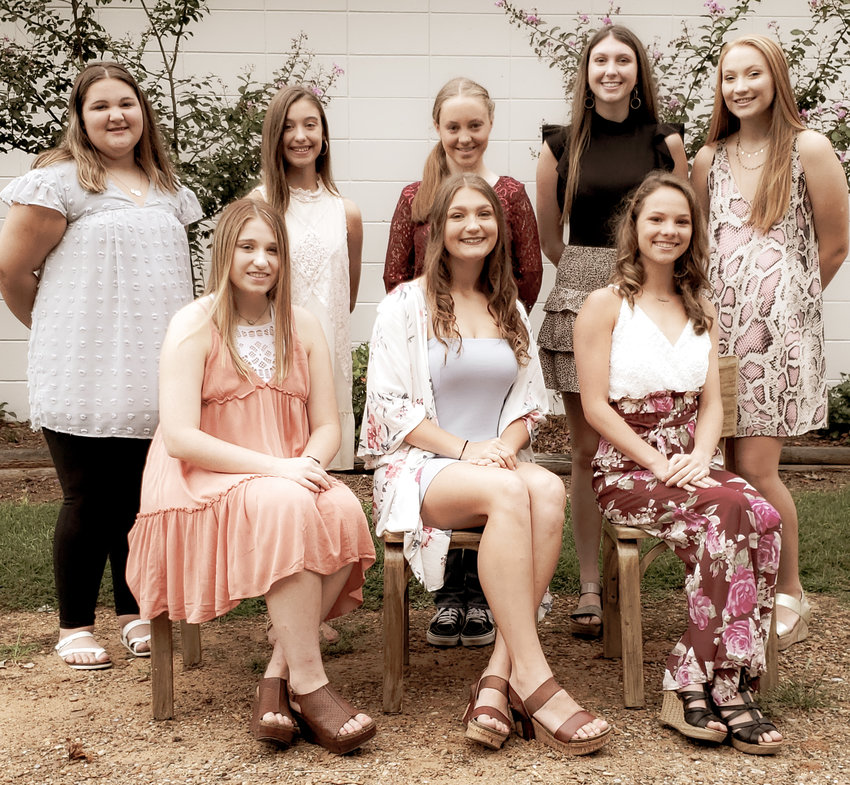 Front row: senior maids, Kaitlyn Holley, Sara Gaylord and Peyton Dawkins; Back row: 7th grade maid-Rayne Ricks; 8th grade maid-Faith Wilson, 9th grade maid-Madison Boswell, 10th grade maid-Braylee Johnson, and 11th grade-Sydney Wilson.