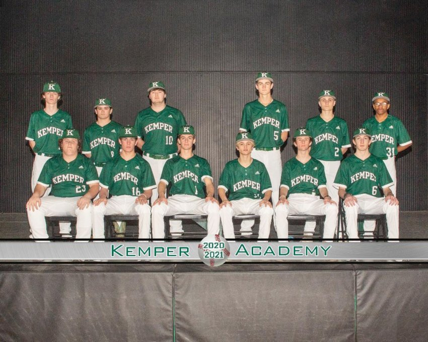 Members of the Kemper Academy baseball team are, front row from left, Brody Barefield, Eli Miles, Kix Wilson, Neal Jernigan, Brody Clay, Ethan Cordar; second row from left, Zane Knight, Dylan Dawson, Dylan Williamson, Dalton McFarland, Zach Ferrell and Jay McWilliams. Not pictured are Landon Dickson, Eli Weaver and Colton Kynerd, The team was coached by Colt Kilpatrick.