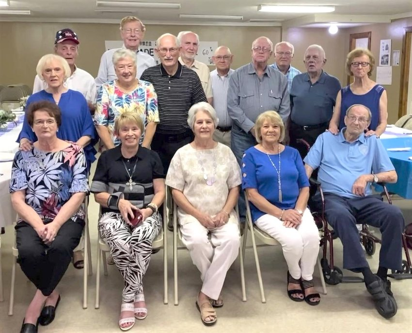 The class of 1961 from DeKalb High School and their spouses/guests enjoyed getting together at Kozy Kitchen on June 26.  This was their 60th-class reunion.  Twenty-eight individuals were in attendance, including 16 graduates.  Since graduation, 18 males and 10 females have passed away. Pictured are, front row from left, Barbara Wilson Swearingen (DeKalb), Hazel Ross Johnson (Semmes, AL), Grace Smith Gibson (DeKalb), Phyllis Gully Clark (Preston), Jimmy Craig (DeKalb);  second row from left, Carolyn Palmer Long (Okolona), Billie Jean Kelley Campbell (Gwynedd, PA), Mose Fleming (Scooba), Bennie Jolly (Collinsville), Ben Thornton (Duluth, GA), Bonnie Warren White (DeKalb);  back row from left, Algie Davis (Meridian), Will Botts (College Station, Texas), Jimmy Weathers (Collinsville), Roy Peden (Preston) and Rev. Billy Goodwin (Meridian).