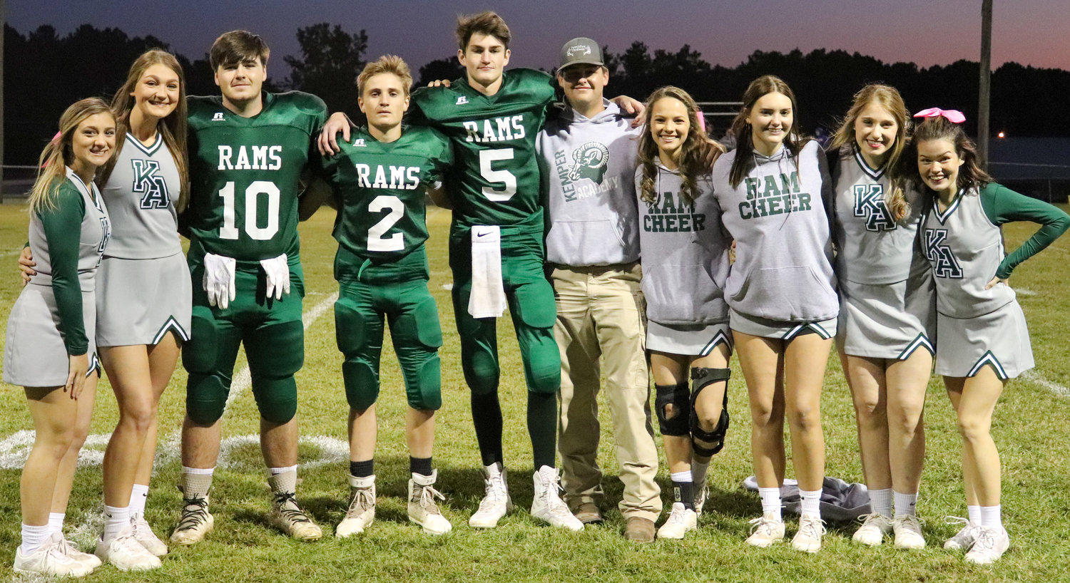 Left to right: Jordan Gully, Sara Gaylord, Dylan Williamson, Zach Ferrell, Dalton McFarland, Cash Wilson, Peyton Dawkins, Adri Hall, KK Holley and Hannah Jones Kemper Academy hosted Ben's Ford Christian School on Friday as the last game on The Hill for the 2020 football season.