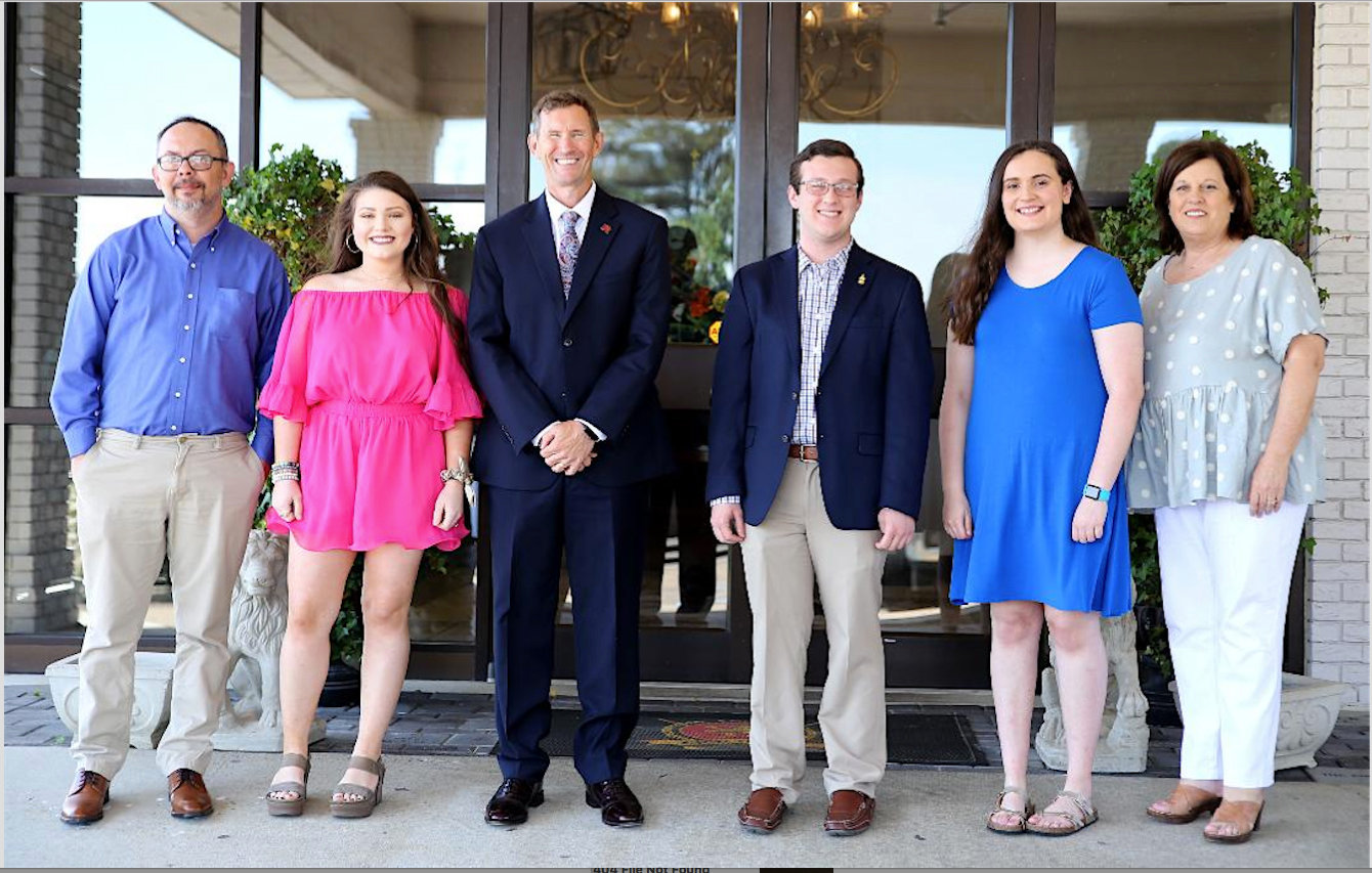 From left, Phi Theta Kappa advisor Derrick Conner, Olivia Newell, East Mississippi Community College President Dr. Scott Alsobrooks, Nathanail Shelton, Emma Biddles and PTK advisor Janet Briggs were among the attendees at luncheon for All-Mississippi Academic Team members.