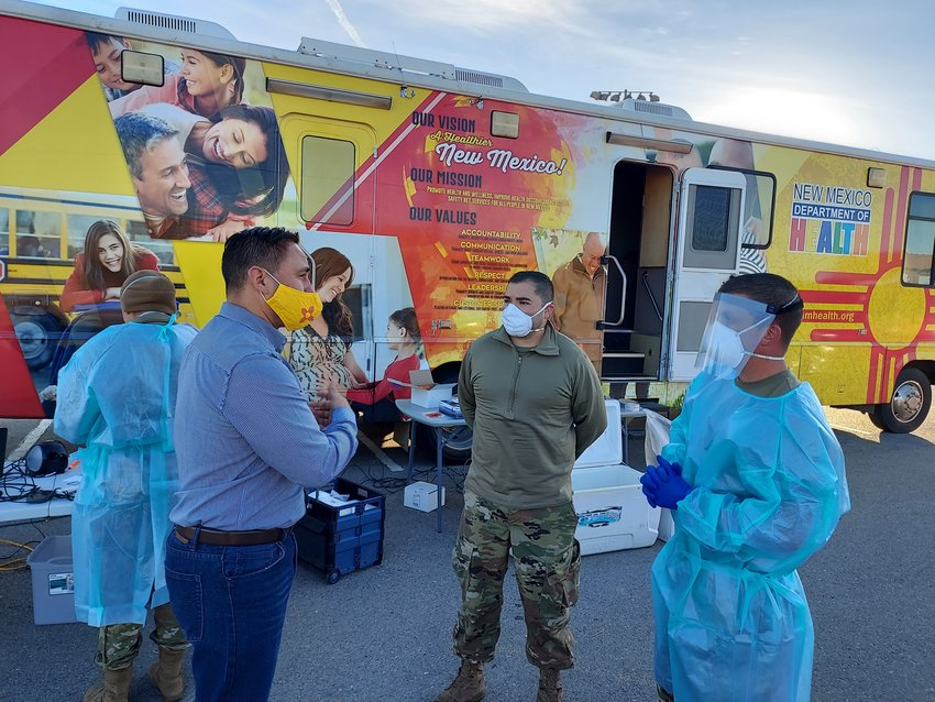 Lt. Gov. Howie Morales, left, visits a COVID-19 testing and flu-shot site at Sunland Park sports complex Friday morning, Oct. 30. The site was manned by officials from the New Mexico Department of Public Health and the New Mexico National Guard. Morales will visit a similar site in Anthony later today.