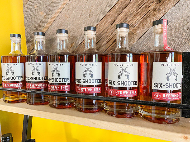 Pistol Pete's Six Shooter Rye Whiskey, produced and bottled by Dry Point Distillery.( NMSU Photo by Charlie Hurley)