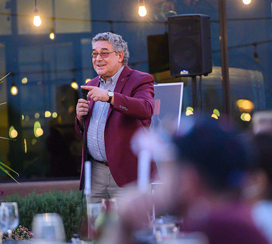 Crimson Legacy Wine release party at Les Combes Winery in Las Cruces. President Floros, Athletic Director Mario Moccia and the owners of Les Combes winer spoke at the event. October 10, 2020. (NMSU photo by Josh Bachman)