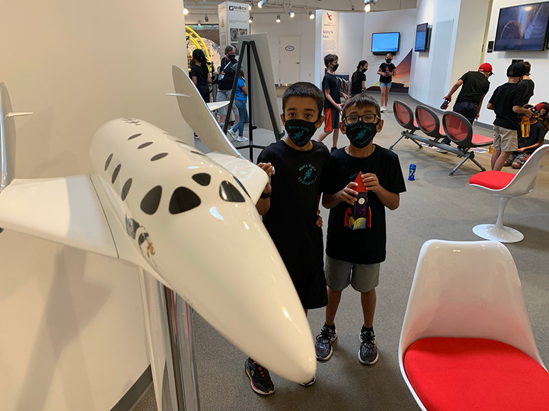 Third graders Hasan Marwan and Mark Powell were just two of 31 children, part of two classes of Monte Vista Elementary School third-graders who got to visit Spaceport America on June 4. The students are part of the Kennedy Center Partners in Education (KCPE) project which is headed by the Doña Ana Arts Council and Las Cruces Public Schools. The Las Cruces KCPE Team focuses on arts integration, an approach to teaching that leads students to demonstrate understanding through an art form.