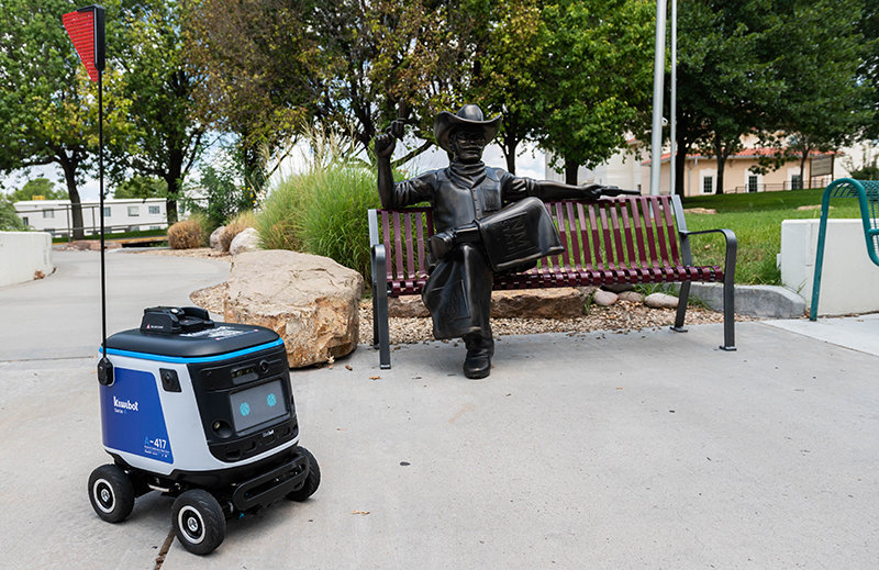 One of the many Kwikibot food delivery robots that is being tested at New Mexico State University in coordination with Sodexo. August 2, 2021. (NMSU photo by Josh Bachman)