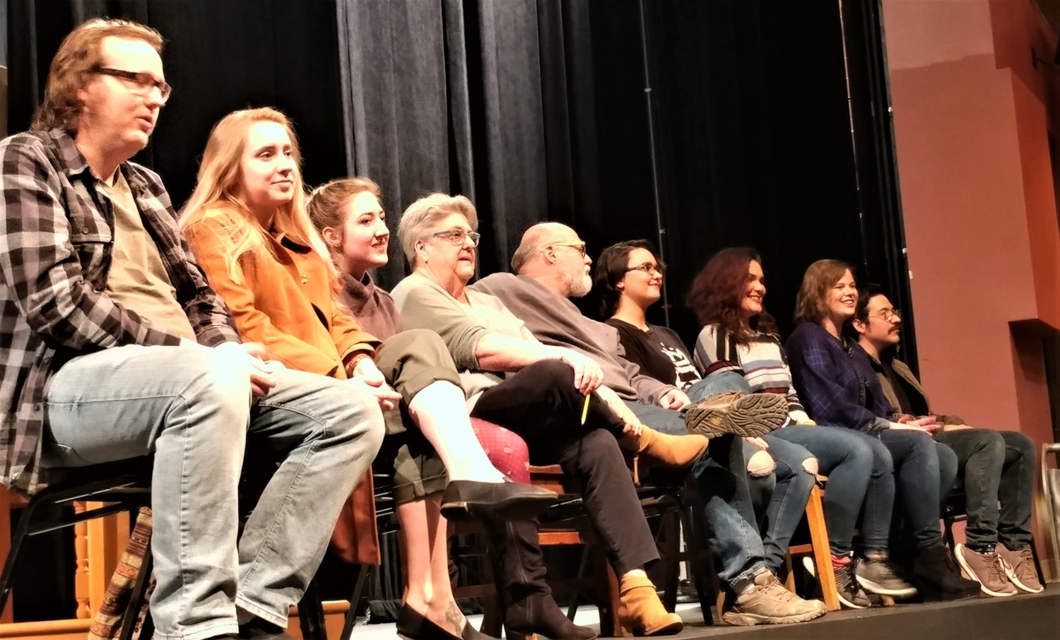 "Some members of the cast and crew of the New Mexico State University Theatre Arts Department's production of ""Silent Sky"" are, left to right, sound designer Daniel Miller, costume designer Junice Robinson, cast member Jenna Ivey, director Claudia Billings, set and lighting designer Jim Billings, and cast members E. Gallegos, Jaidan Jaramillo, Molly Schafer and Isaac Lucero. (Bulletin photo by Mike Cook)"