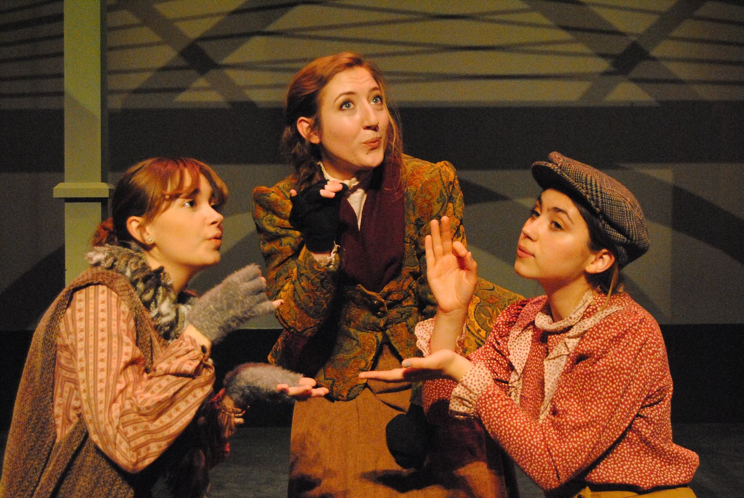 Left to right are Nicole Ritter, Jenna Ivey and Brianna Horvath. Ivey plays Eliza Doolittle. Ritter and Horvath are in the show's ensemble and play multiple acting roles. (Photo by Mike Wise/NMSU Theatre Department)