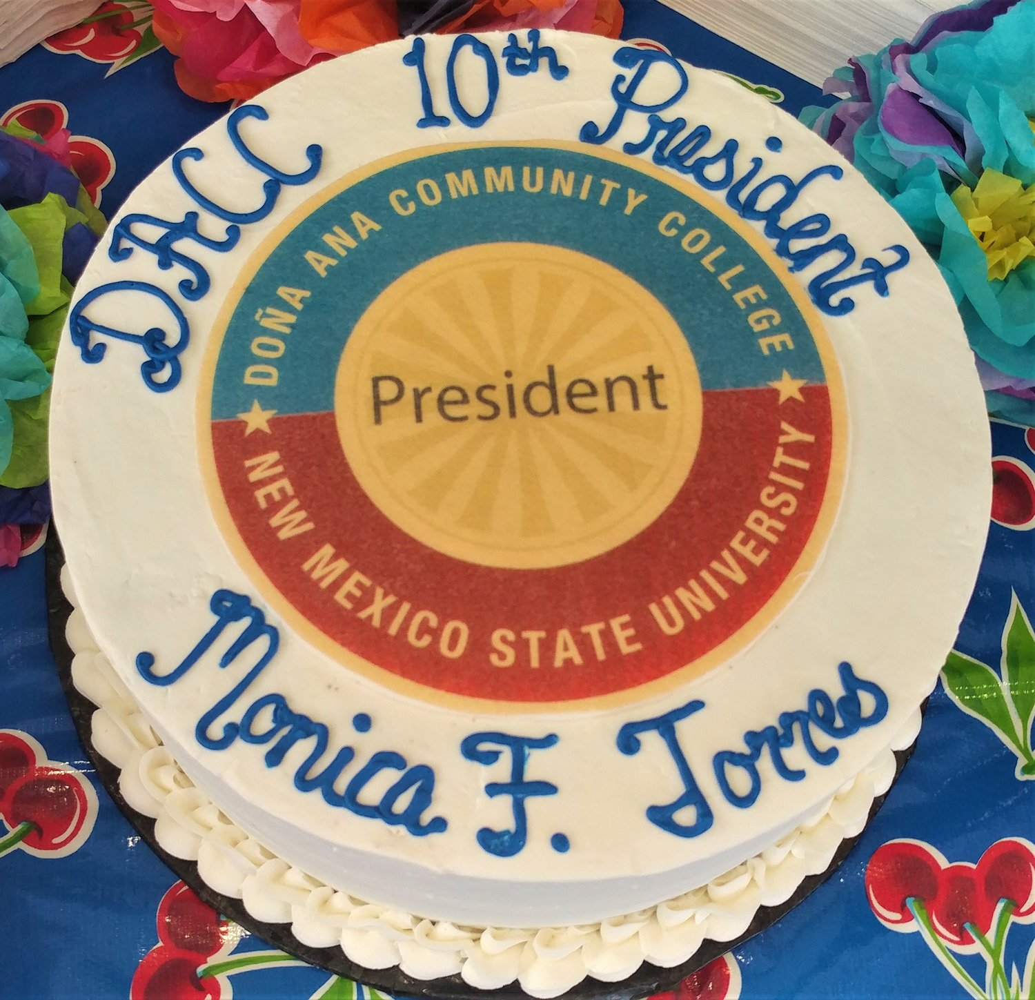 The cake honoring new Doña Ana Community College president Monica Torres.