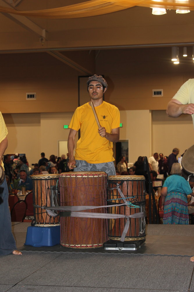 A drum and dance group was one of the entertainment acts for the evening.