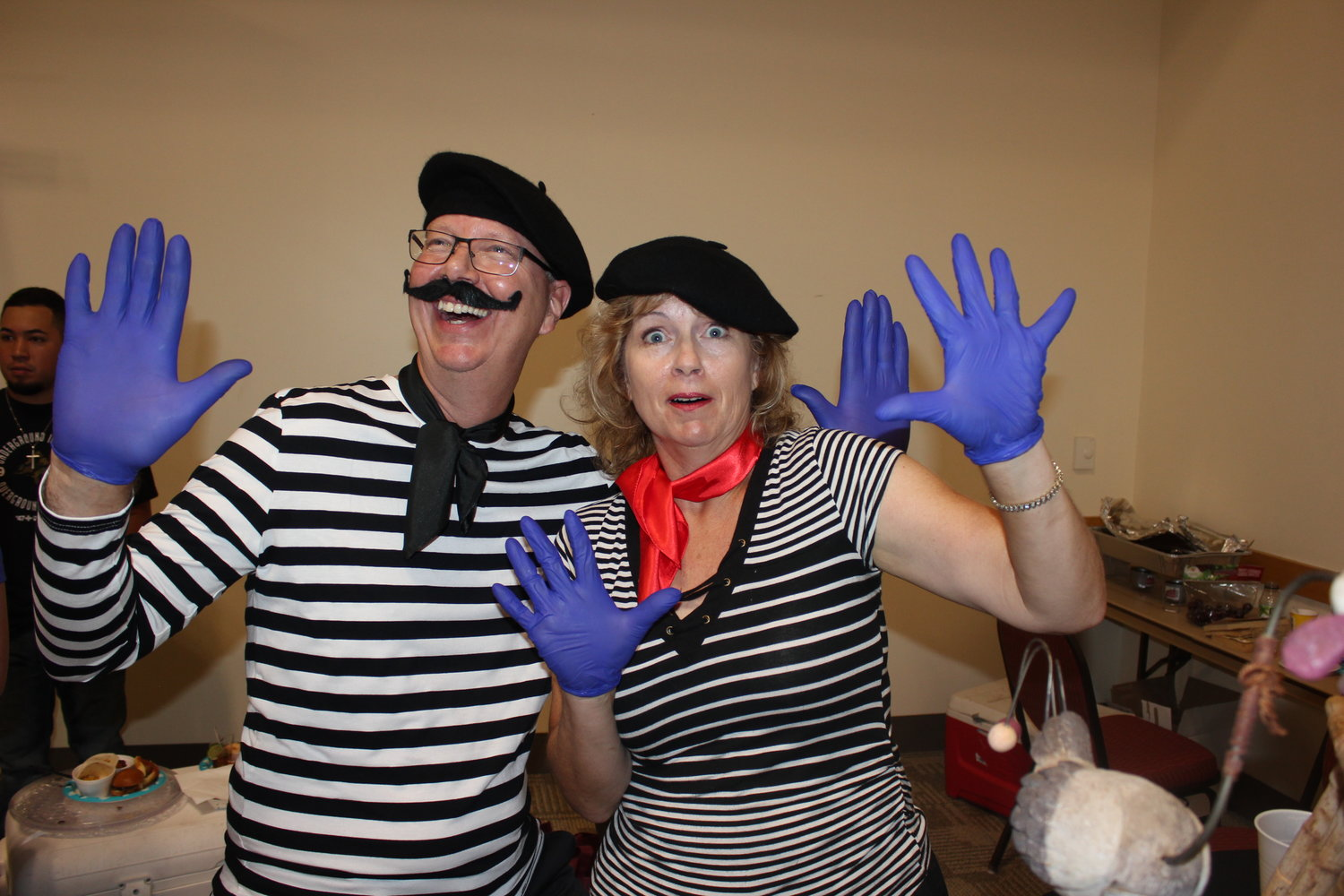 Rob Sharp, and his sister, Rebecca Lescombes, donned French attire for the presentation of their coq au vin dish.