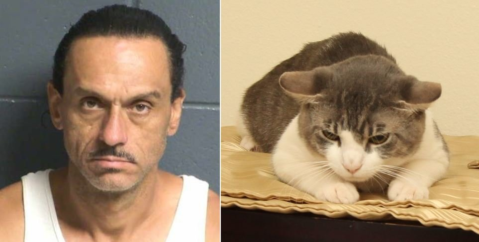Booking photo of Aaron Spaulding and the cat that tested positive for methamphetamines.