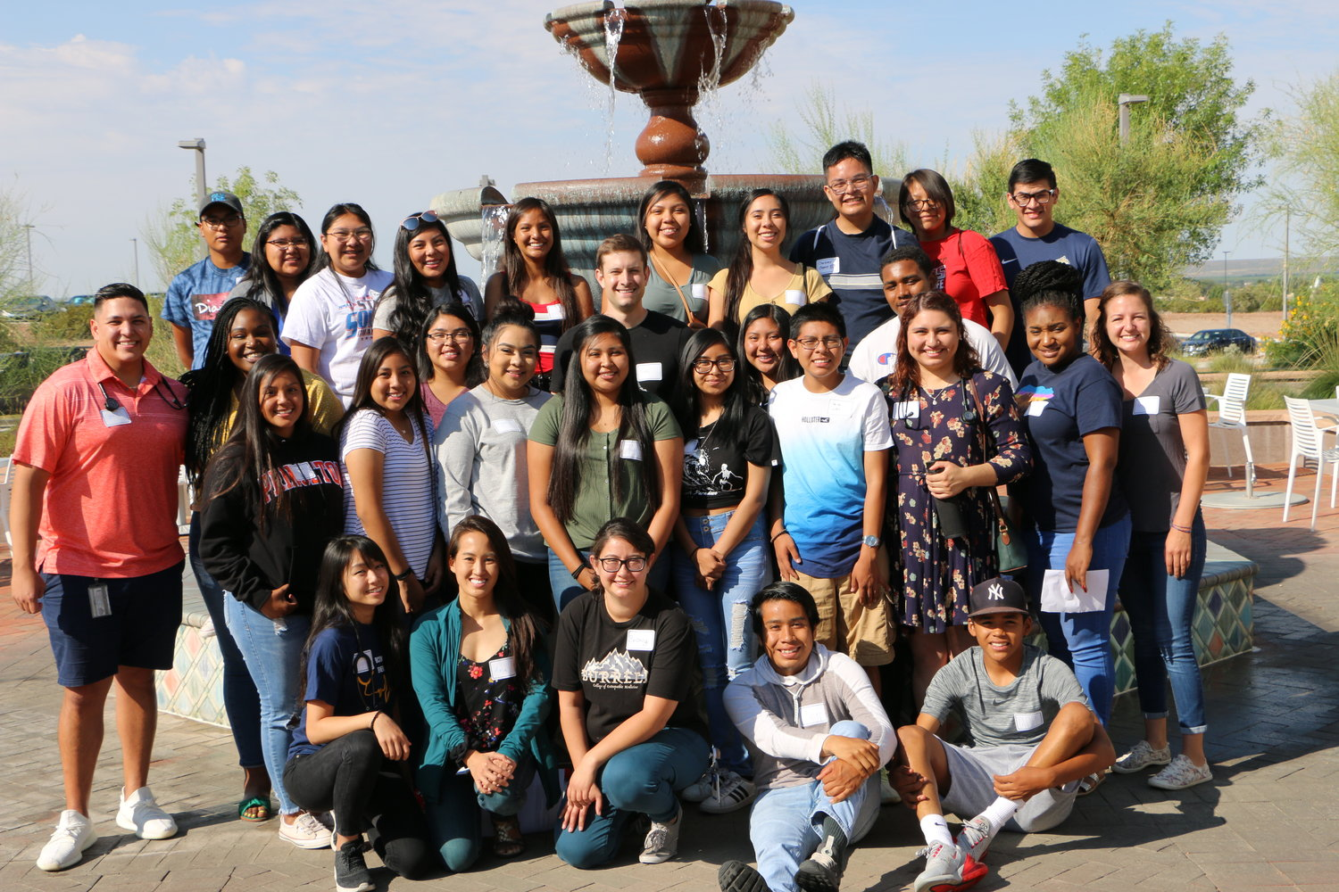 Students in the new Jemez-Pathways for Advancing Tribal Health (J-PATH) program pose with Burrell College of Osteopathic Medicine students in July.