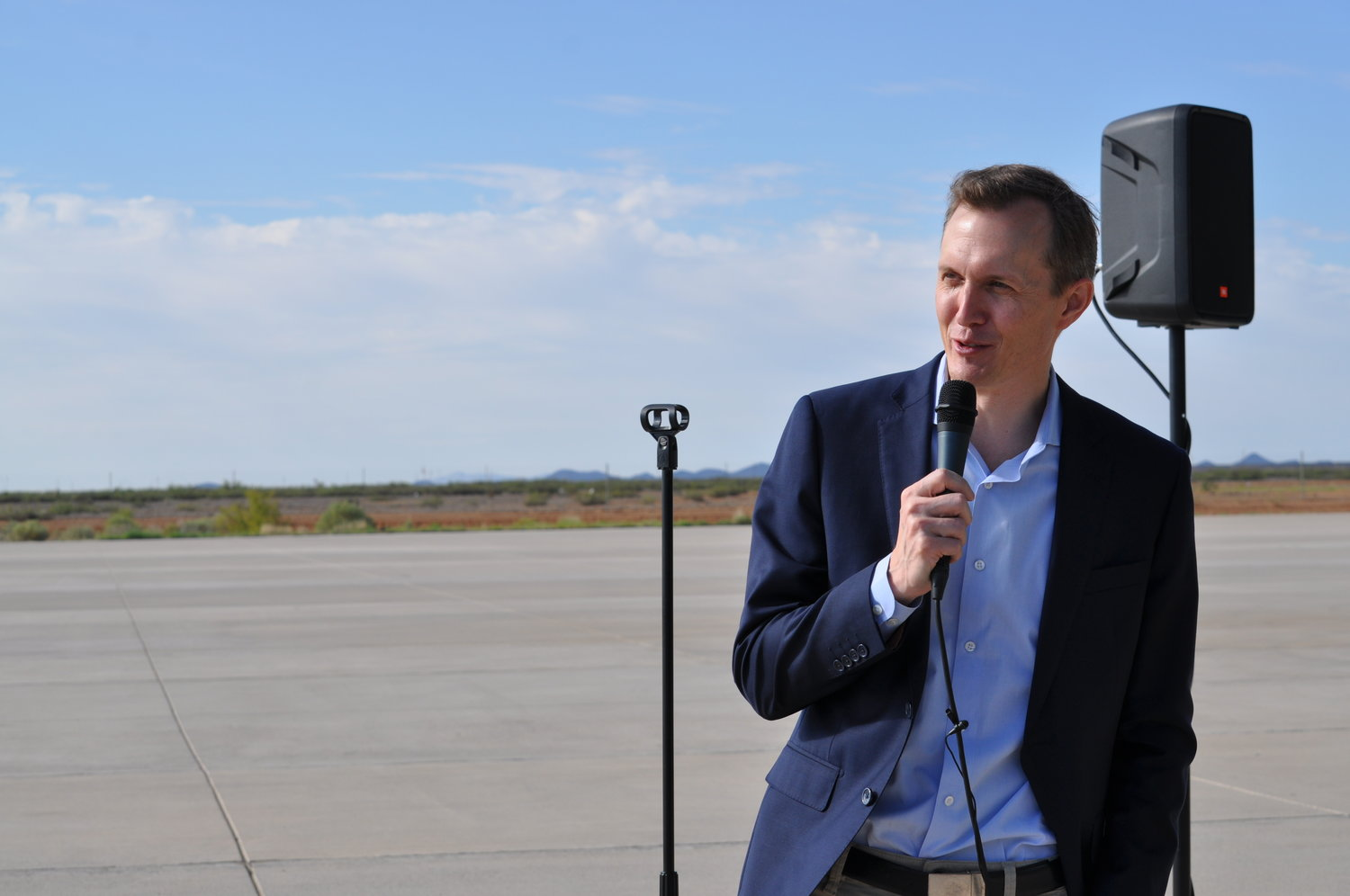 Virgin Galactic CEO George Whitesides declares operational readiness at Spaceport America.