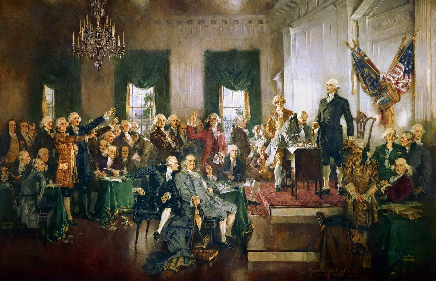 Scene at the signing of the Constitution of the United States.