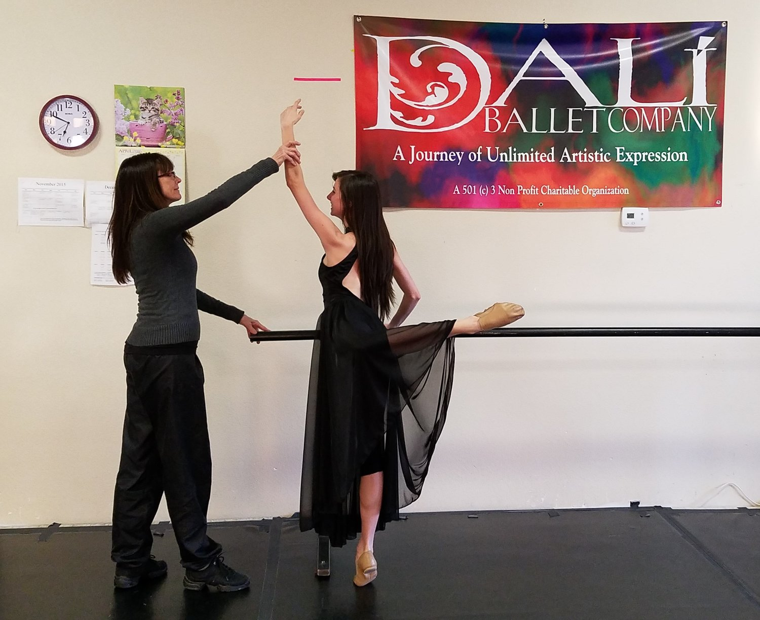 Deborah Rogers, retiring Artistic Director of Dalí Ballet Company, right, and former Dalí soloist, Emily Hutchison, left, in rehearsal.