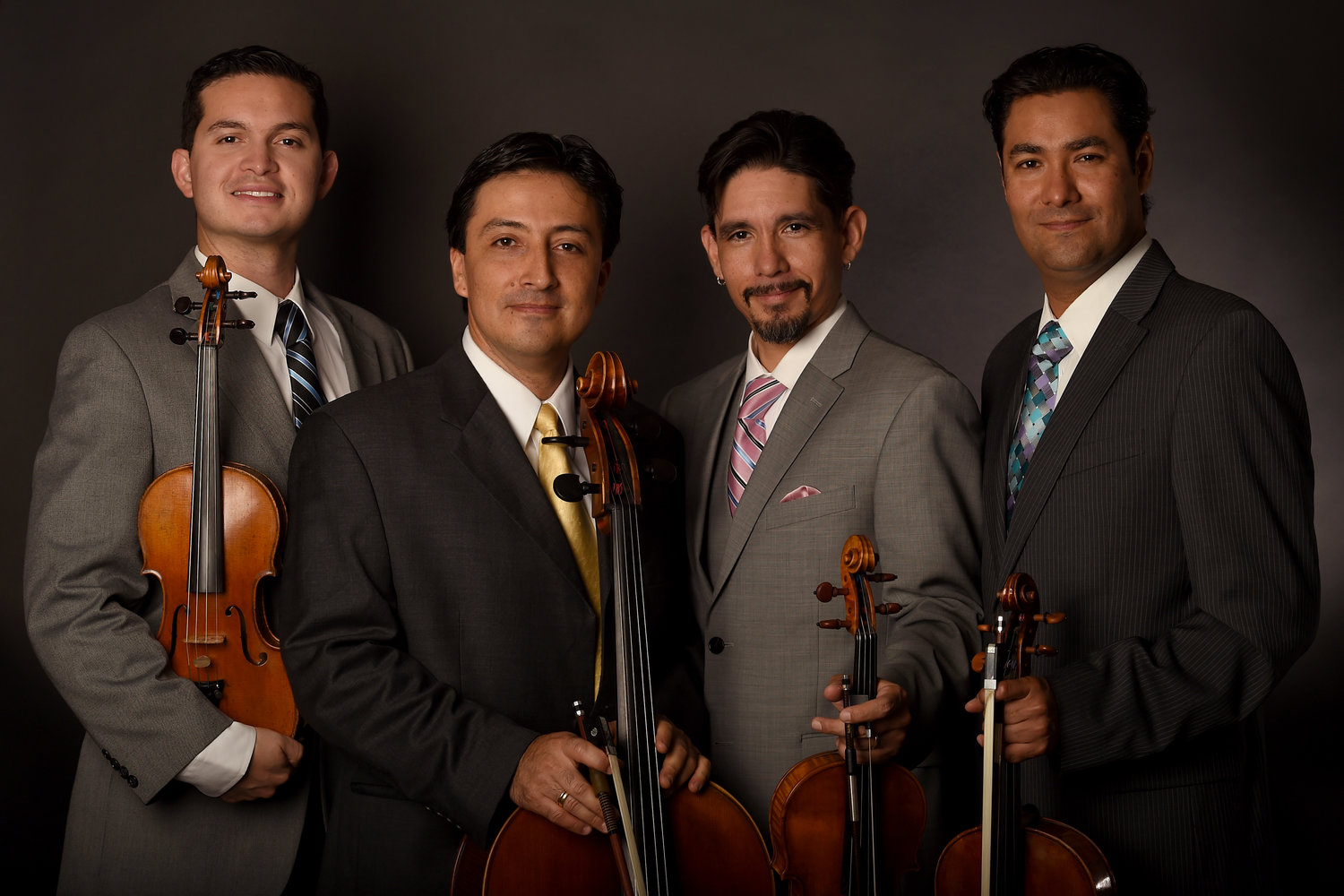 "La Catrina Quartet, made up of Daniel Vega-Albela, Jorge Martínez-Ríos, Simón Gollo and Jorge Espinoza play for the Doña Ana Arts Council's ""Classical Drinking"" event Sept. 14."
