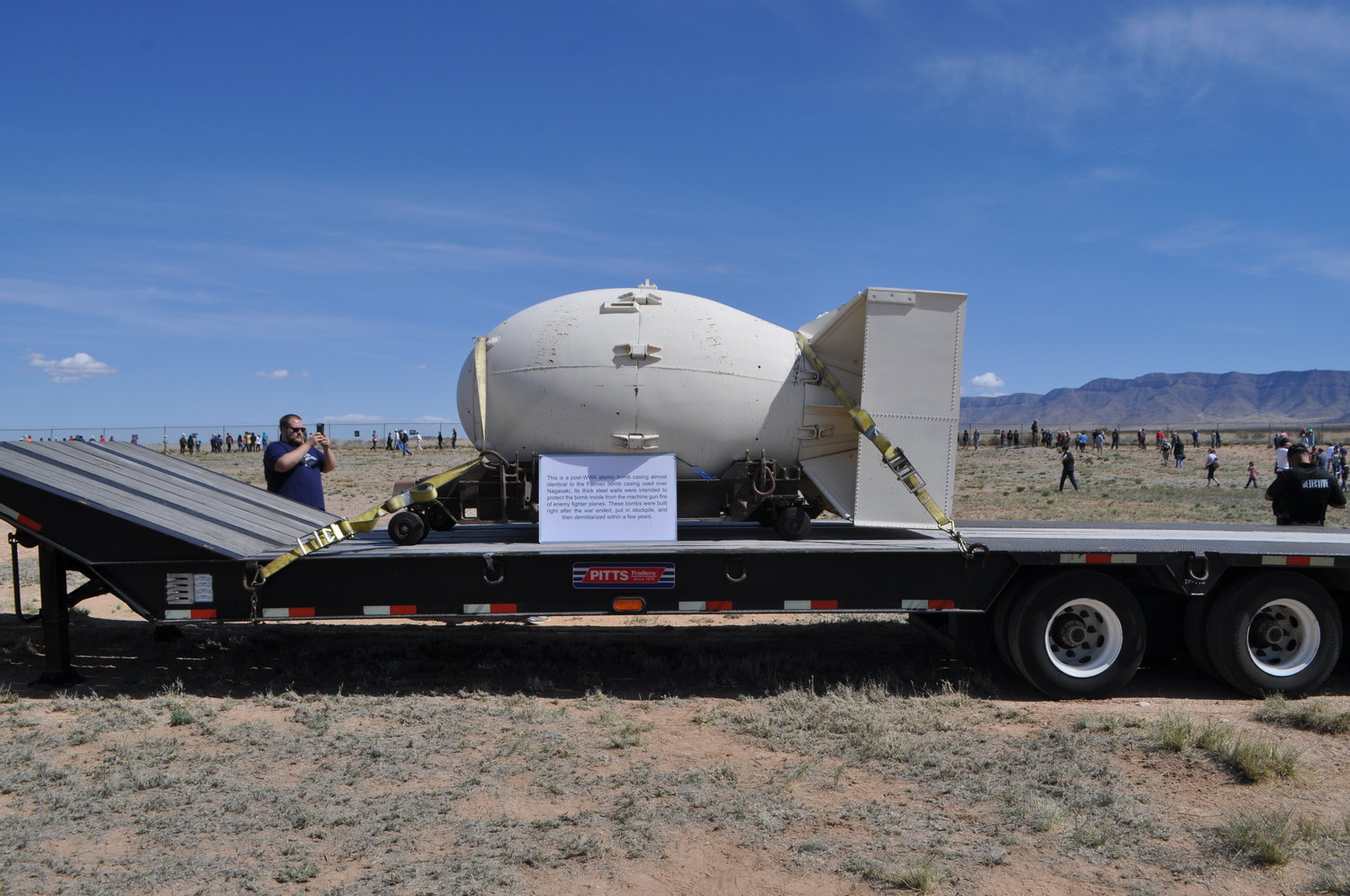 One of the items on display at the White Sands Missile Range Trinity Site is a post-World War II atomic bomb casing almost identical to the Fatman bomb casing used over Nagasaki, Japan.