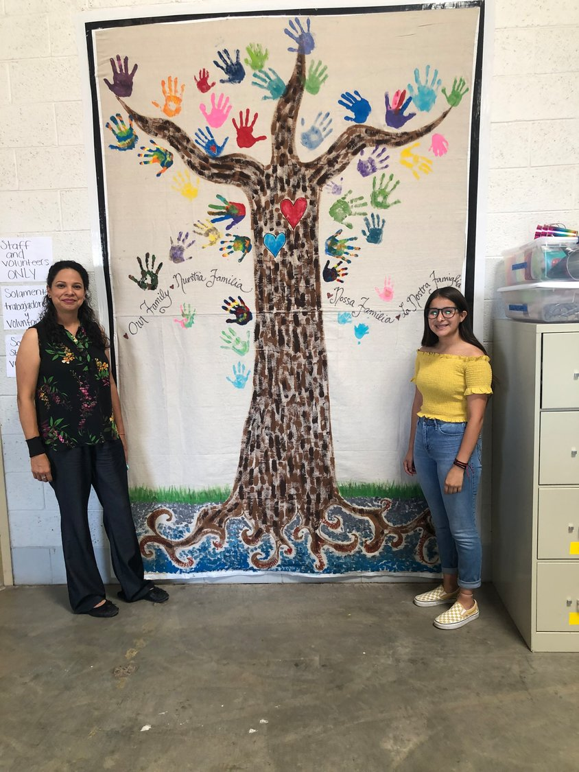 The shelter in Deming Two volunteers with a 