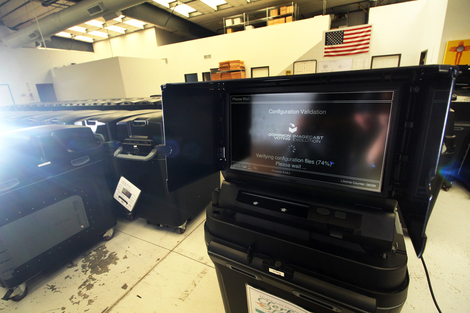 Voting machines await certification in the Doña Ana County Clerk's Bureau of Elections Warehouse.