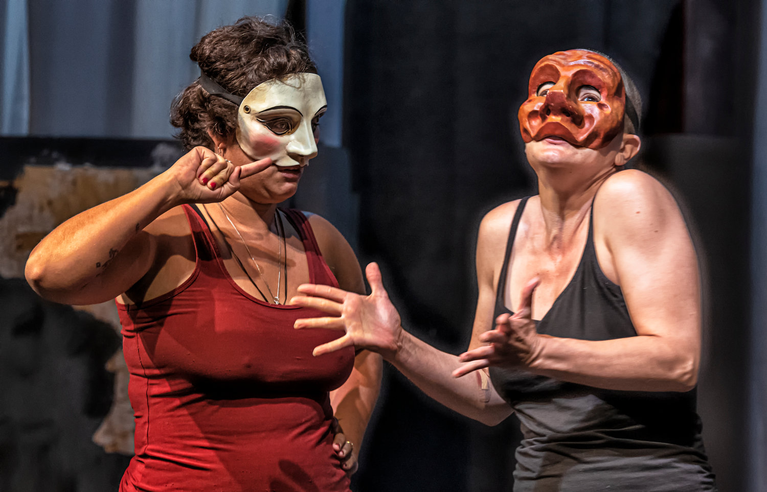 "Kallie Renard and Kristen Warnack rehearse with their masks for ""The Green Bird,"" coming at El Sol Theater in November"