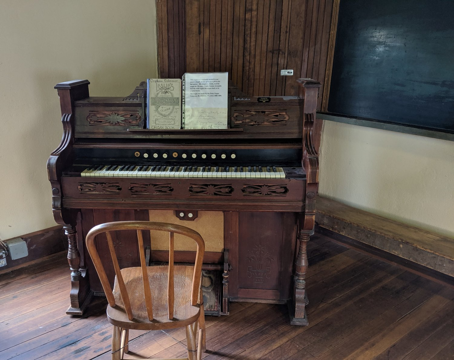 A bellows organ is one of the numerous historic furnishings and artifacts contained in the old schoolhouse at Lake Valley.