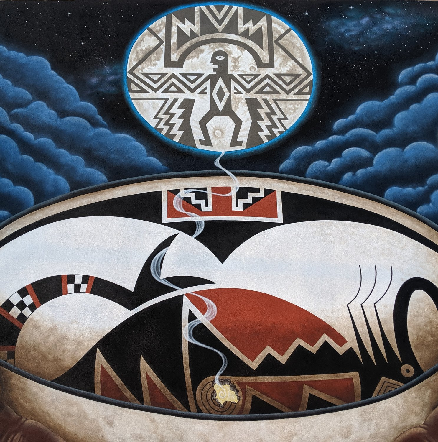 "The focus of Jesse Kriegel's new mural outside of Peppers Supermarket in Deming is this Mimbres bowl with a ""kill hole"" through which the spirits of the dead escape."