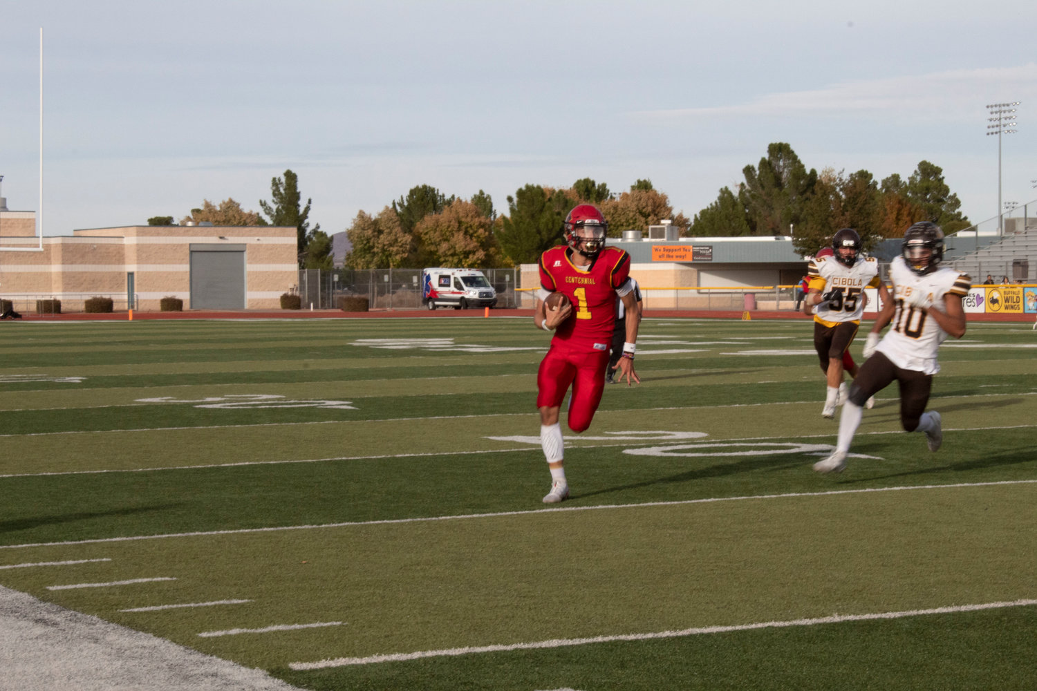 Centennial senior QB/WR Aidan Trujillo is off to the races against Cibola in the opening round.