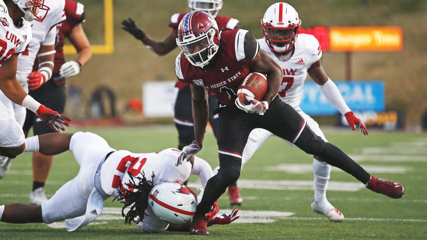 Jason Huntley had a field day against UIW with 174 yards rushing.
