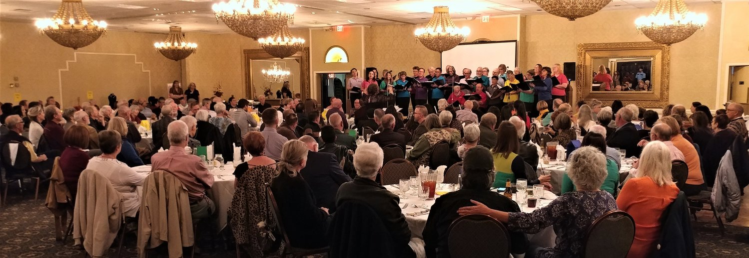 The Singing Out Las Cruces choir was part of the live entertainment at PLFAG-Las Cruces/Doña Ana County's 24th annual fundraiser gala, held Friday night, Nov. 15 at Ramada Palms Hotel.